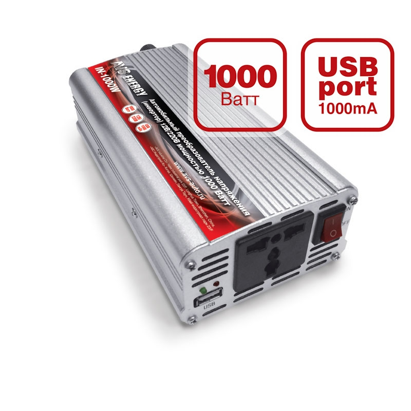 Преобразователь напряжения автомобильный AVS IN-1000W (12В > 220В, 1000 Вт, USB) преобразователь напряжения инвертор с usb портом 150 вт 12в dc 220в ac koto 12v 503 0975607602