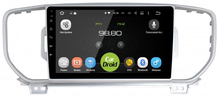 Фото - Штатная магнитола CarDroid RD-2319F-N16 для KIA Sportage 4 2016 (Android 9.0) DSP (+ Камера заднего вида в подарок!) штатная магнитола cardroid rd 2310d m18 для kia optima 2018 android 8 0 dsp камера заднего вида в подарок