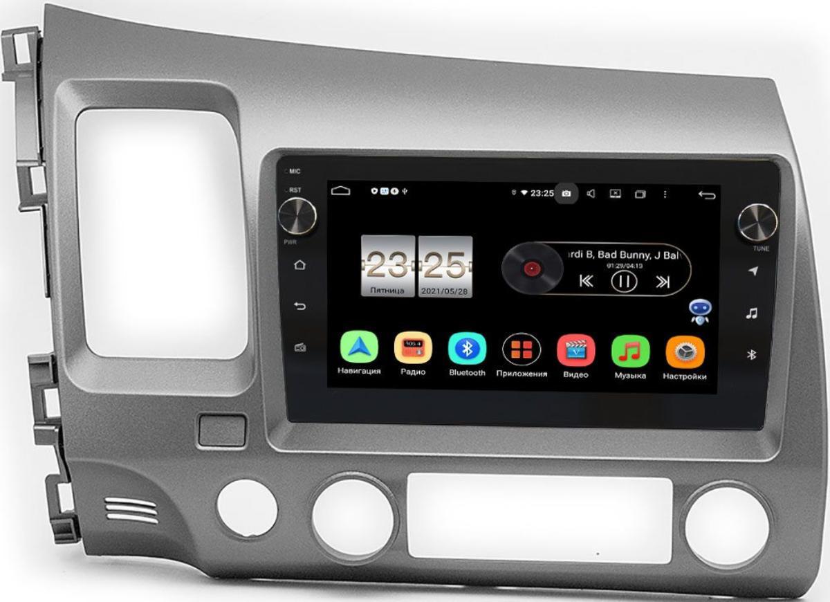 Штатная магнитола Honda Civic 8 (VIII) 4D 2005-2011 LeTrun BPX409-1061 на Android 10 (4/32, DSP, IPS, с голосовым ассистентом, с крутилками) (+ Камера заднего вида в подарок!)