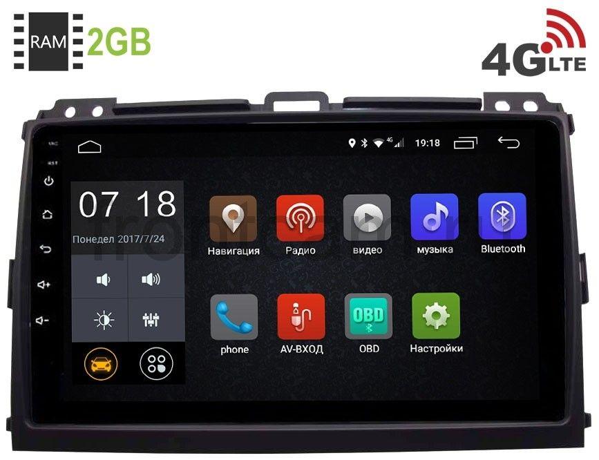 Штатная магнитола LeTrun 2443 для Toyota Land Cruiser Prado 120 2002-2009 Android 6.0.1 9 дюймов (4G LTE 2GB) (+ Камера заднего вида в подарок!)