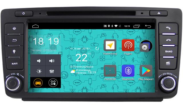 Штатная магнитола Parafar 4G/LTE для Skoda Octavia 2, A5 2004-2013 с DVD на Android 7.1.1 (PF878D) набор автомобильных экранов trokot для skoda octavia a5 scout 2009 2013 на задние двери