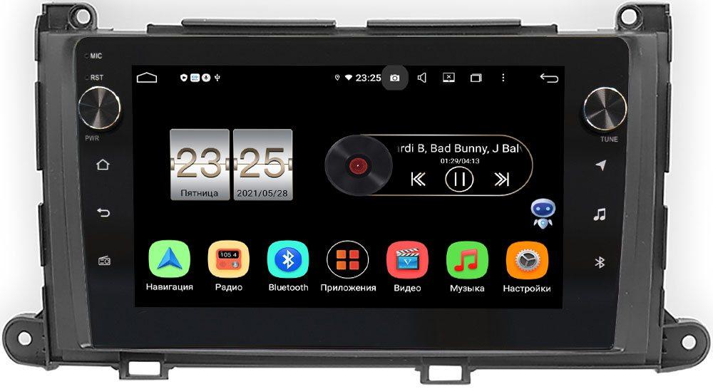 Штатная магнитола Toyota Sienna III 2010-2014 LeTrun BPX609-202 на Android 10 (4/64, DSP, IPS, с голосовым ассистентом, с крутилками) (+ Камера заднего вида в подарок!)