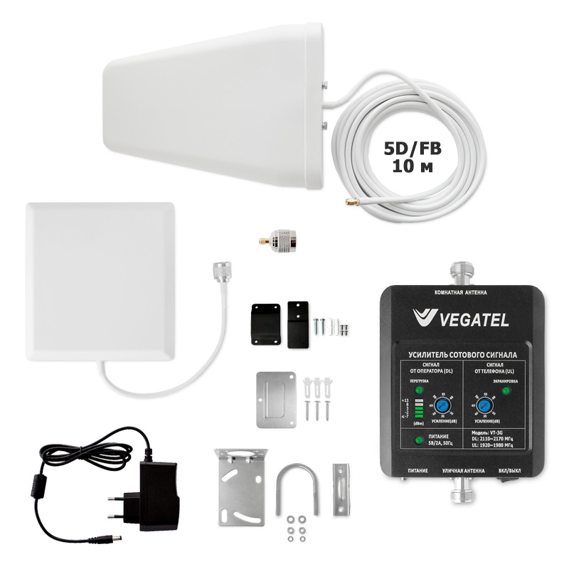 Усилитель сотовой связи VEGATEL VT-3G-kit (дом, LED)