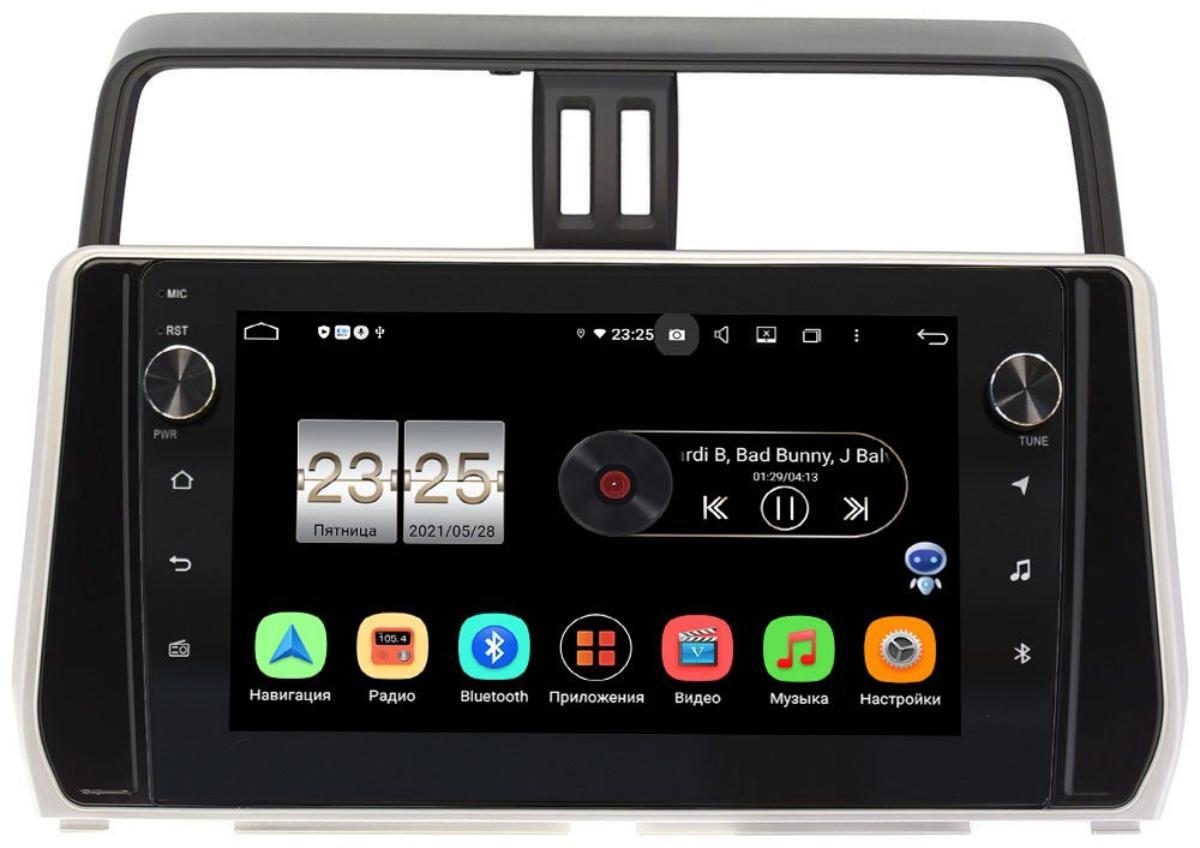 Штатная магнитола Toyota Land Cruiser Prado 150 2017-2021 LeTrun BPX410-1038 на Android 10 (4/32, DSP, IPS, с голосовым ассистентом, с крутилками) (для авто без 4 камер) (+ Камера заднего вида в подарок!)