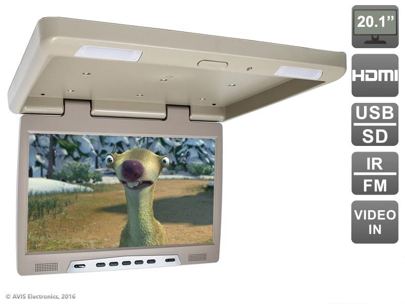Потолочный автомобильный монитор 20,1 с HDMI и встроенным медиаплеером AVIS Electronics AVS2020MPP (бежевый) avis avs001hp