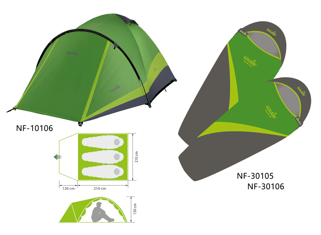 Палатка 3-х местная Norfin PERCH 3 NF + 2 спальных мешка-одеяла SCANDIC