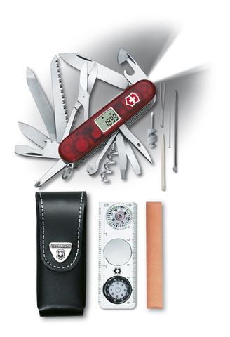 Нож Victorinox Expedition Kit, 91 мм, 44 функция, полупрозрачный красный (+ Антисептик-спрей для рук в подарок!)