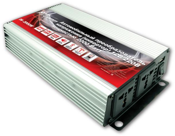 Преобразователь напряжения автомобильный AVS IN-2000W (12В  220В, 2000 Вт, USB)