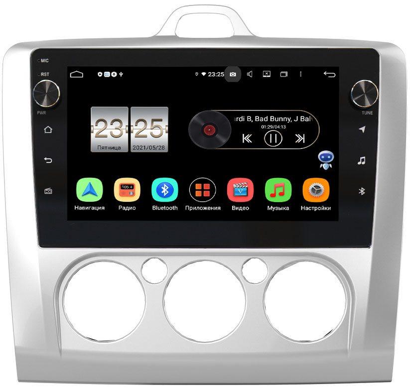 Штатная магнитола LeTrun BPX409-9157 для Ford Focus 2005-2011 с печкой на Android 10 (4/32, DSP, IPS, с голосовым ассистентом, с крутилками) (+ Камера заднего вида в подарок!)