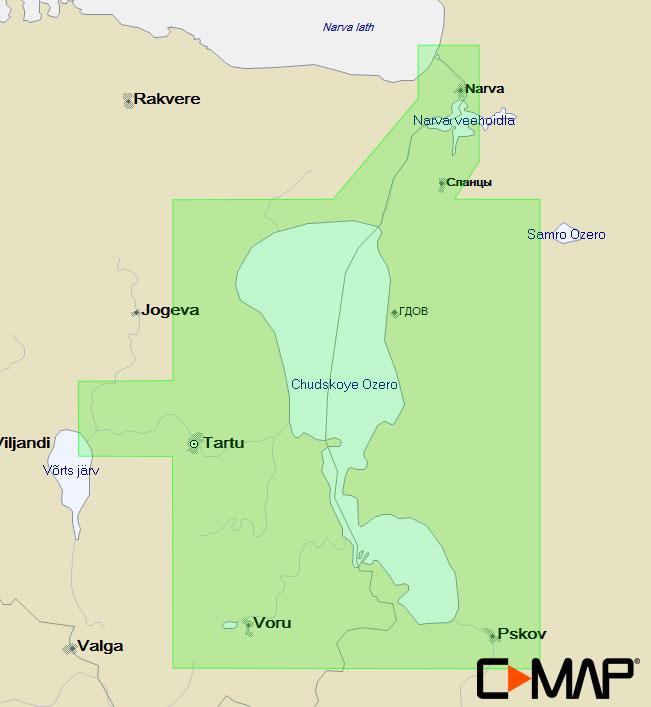 Карта C-MAP EN-N607 - Чудское-Псковское озёра (Пейпус-Псков)