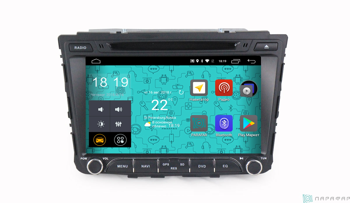 Штатная магнитола Parafar 4G/LTE для Hyundai Creta 2016+ c DVD на Android 7.1.1 (PF407D) 4g portable hotspot wifi router usb modem 100mbps lte fdd with sim card