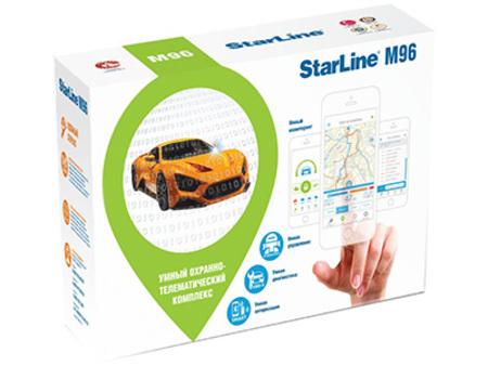 Охранно-телематический комплекc StarLine M96 M (2sim)StarLine<br>Охранно-телематический комплексStarLine M96предназначен для защиты имониторинга автомобилей; онпроводит авторизацию владельца потехнологииBluetooth Smart, используя радиометку или смартфон.<br>