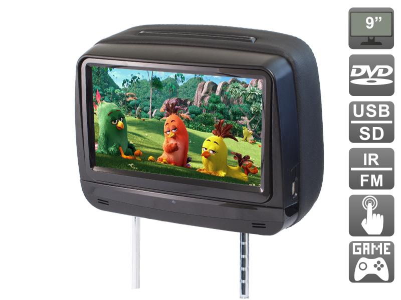 Подголовник с сенсорным монитором 9 и встроенным DVD плеером AVIS Electronics AVS0945T (черный) 2x 9 inch leather cover car headrest monitor dvd video player tft lcd screen support usb sd fm game speaker wireless headphone