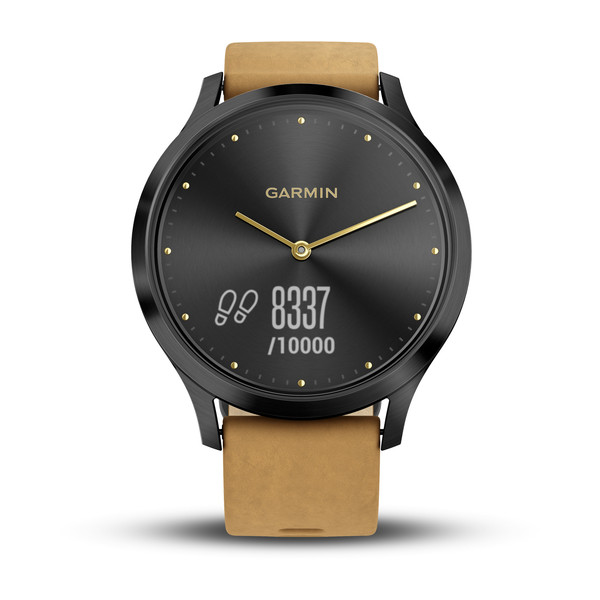 Смарт-часы Garmin vivomove HR, Premium, Onyx Black with Tan Suede garmin fenix 3 hr steel on black
