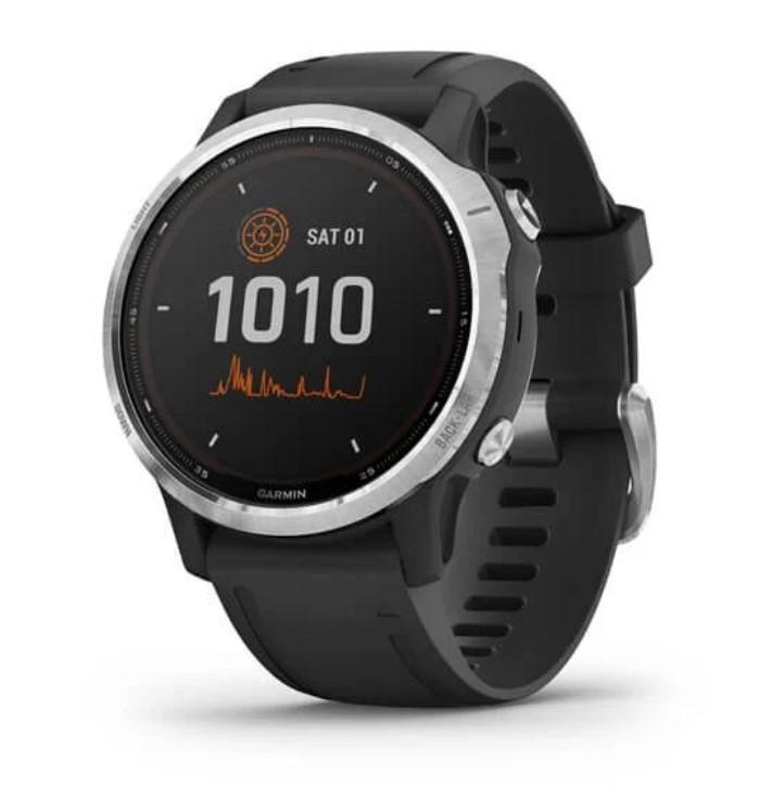 Garmin Fenix 6s Solar серебристый с черным ремешком умные часы garmin vivomove 3 черные с черным силиконовым ремешком