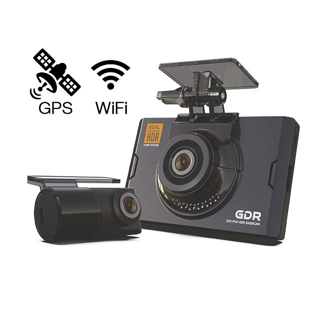 Видеорегистратор с двумя камерами GNet GDR WIFI+GPS (+ Антисептик-спрей для рук в подарок!)