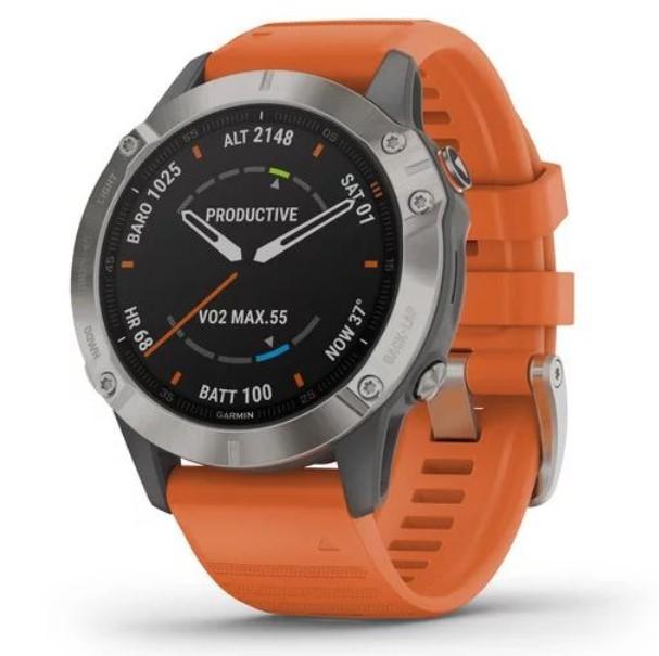 цена на Умные часы Garmin Fenix 6 Sapphire титановый с оранжевым ремешком