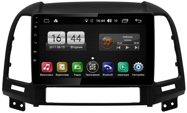 Штатная магнитола FarCar s195 для Hyundai Santa Fe II 2005-2012 (4 кнопки) на Android 8.1 (LX008R) DSP IPS (+ Камера заднего вида в подарок!)