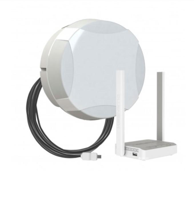 Картинка для Комплект для мобильного интернета WiFi 3G/4G ДалСвязь DS-4G-15M L3-2.4 ( панельная секторная антенна 15 дБ, USB кабель 10 м, Wi-Fi роутер 2.4 ГГц) (+ Кронштейн в п