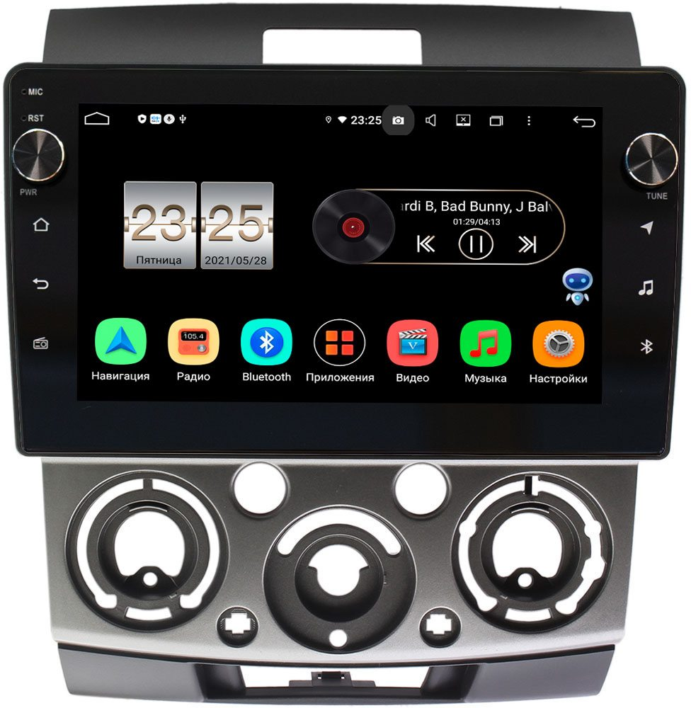 Штатная магнитола Mazda BT-50 I 2006-2011 LeTrun BPX409-9139 на Android 10 (4/32, DSP, IPS, с голосовым ассистентом, с крутилками) (+ Камера заднего вида в подарок!)