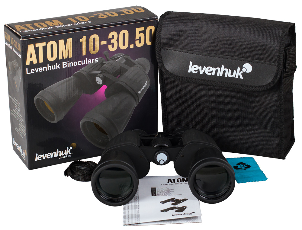 Бинокль Levenhuk Atom 10–30x50Оптические бинокли<br>Полевой бинокль с зумом – отличная детализация на разном расстоянии. Увеличение 10–30 крат при объективах 50 мм