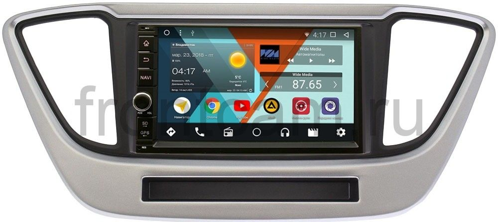 Магнитола в штатное место 2 din Hyundai Solaris II 2017-2018 Wide Media WM-VS7A706-OC-2/32-RP-HDLSLc-33 Android 8.0 kd mn08 mini portable 2 channel media player speaker w tf strap blue silver