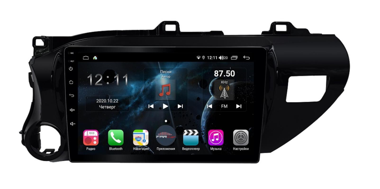Штатная магнитола FarCar s400 Toyota Hilux на Android (H1077R) (+ Камера заднего вида в подарок!)