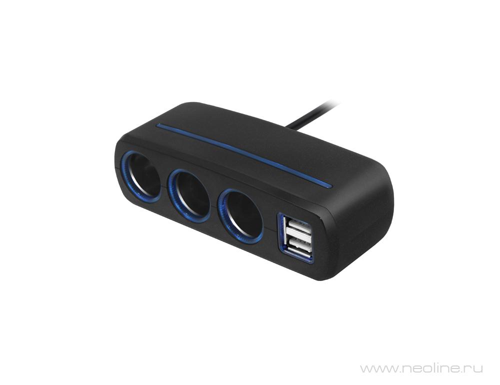 Разветвитель на 3 автомобильных розетки 12V и 2 USB Neoline SL-321