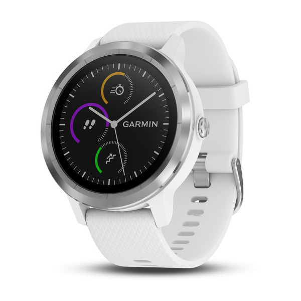 Garmin Vivoactive 3 серебристые с белым ремешкомЧасы Vivoactive<br>Умные часы с встроенным GPS, пульсометром и бесконтактными платежами Garmin Pay