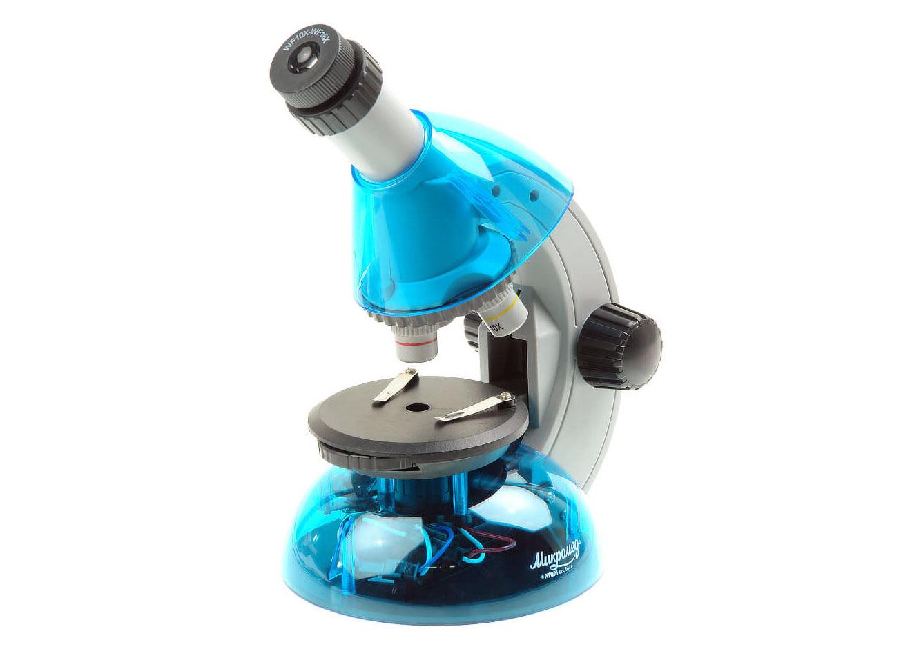 Фото - Микроскоп Микромед «Атом» 40–640x, лазурь (+ Салфетки из микрофибры в подарок) микроскоп