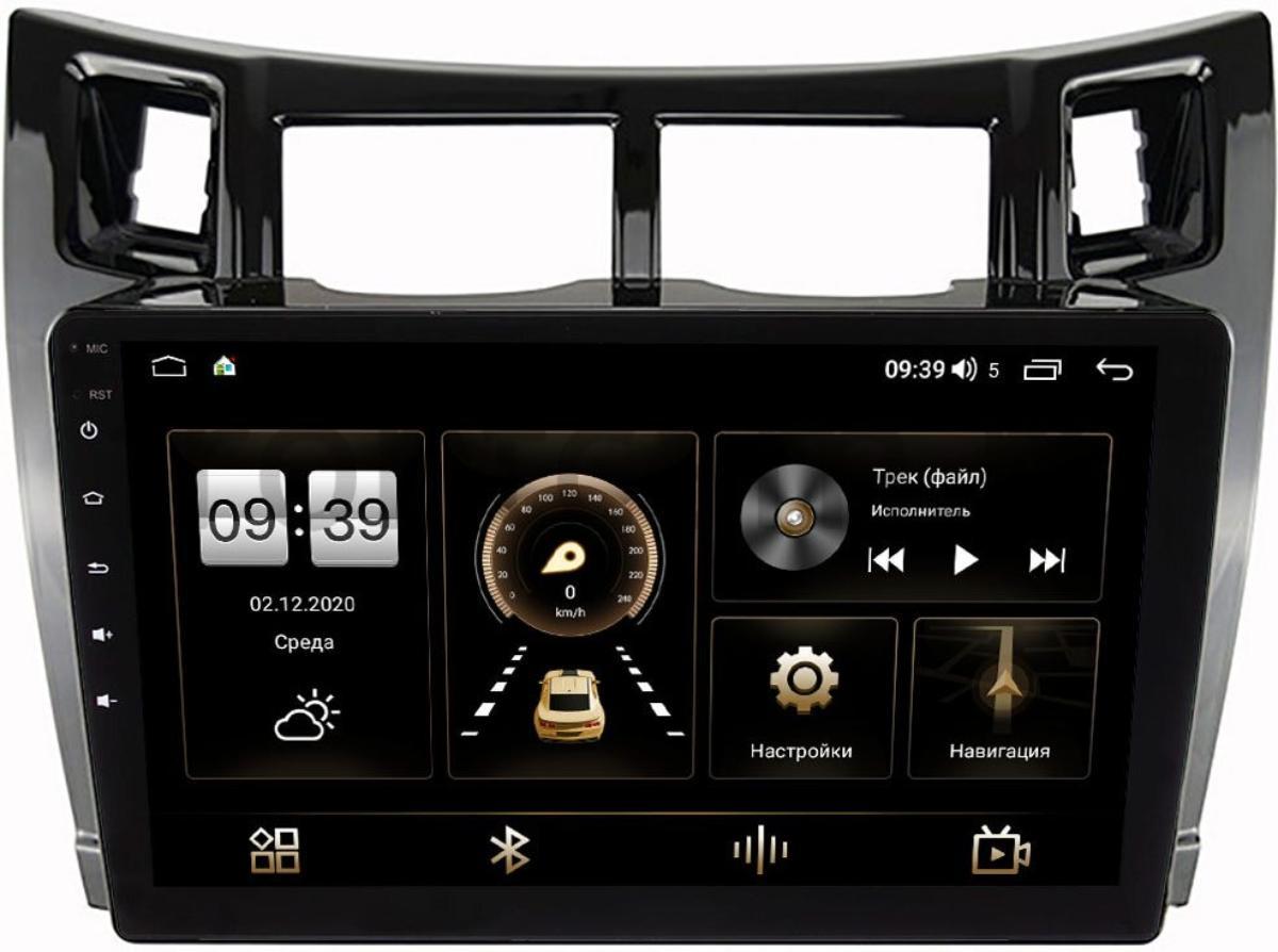 Штатная магнитола Toyota Yaris II (XP90) 2005-2010, Vitz II (XP90) 2005-2010 (черная, глянец) LeTrun 4166-9-172 на Android 10 (4G-SIM, 3/32, DSP, QLed) (+ Камера заднего вида в подарок!)