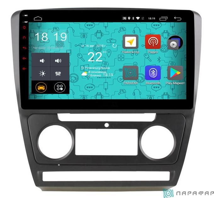 Штатная магнитола Parafar с IPS матрицей для Skoda Octavia A5 (2004-2013) на Android 6.0 (PF005Lite) набор автомобильных экранов trokot для skoda octavia a5 scout 2009 2013 на задние двери