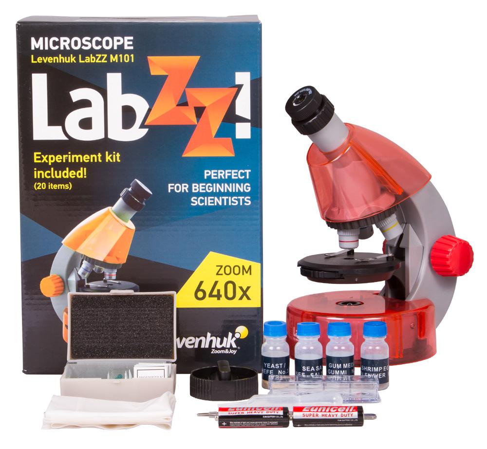 Фото - Микроскоп Levenhuk LabZZ M101 Orange\Апельсин (+ Салфетки из микрофибры в подарок) набор для опытов bondibon микроскоп 30х вв2390