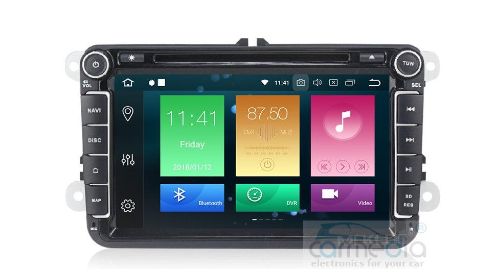 Штатная магнитола CARMEDIA MKD-8019-P30-8 Volkswagen, Skoda, Seat (по списку) Android 9.0 (+ камера заднего вида)CARMEDIA<br>CARMEDIA MKD-8019-P30-8 Головное устройство для Volkswagen, Skoda, Seat Android 9.0, процессор Octa-Core RK PX30 4x1,6 Ghz, 2Gb Ram, 16 Gb ROM. Радио модуль HD Radio NXP 6686 (используется в аудиосистеме Mercedes и BMW) уверенный приём даже при самом слабом сигнале. Аудио усилитель в связке с DSP процессором дает чистейший объемный звук!