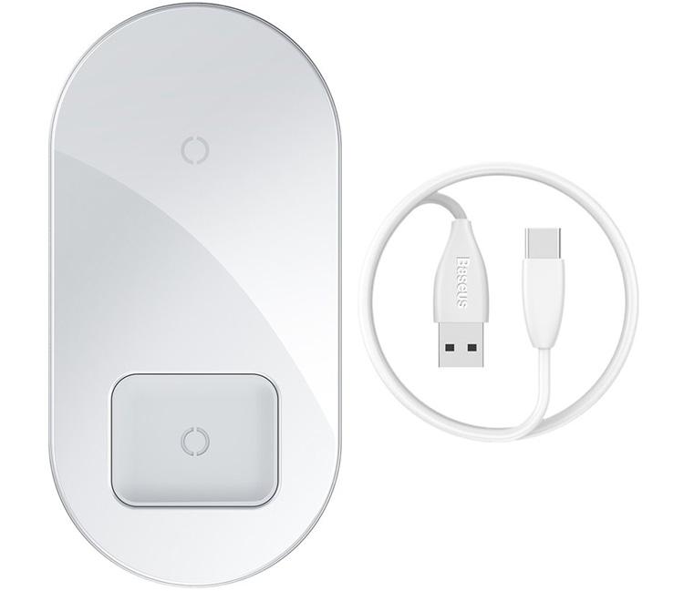 Беспроводное зарядное устройство Baseus Simple 2in1 Wireless Charger Pro Edition (Белая)