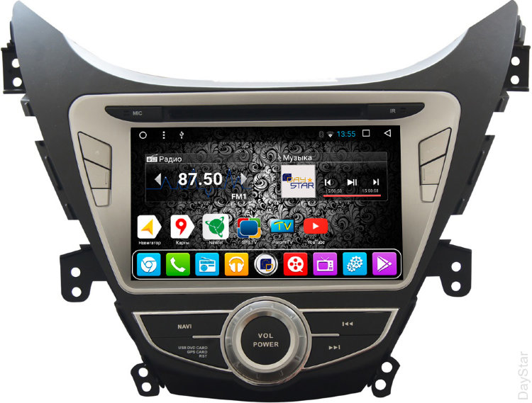 Штатная магнитола DayStar DS-7052HD Hyundai Elantra 2011-2013 ANDROID 8.1.0 (8 ядер, 2Gb ОЗУ, 32Gb памяти) universal 7 8 22mm cnc motorcycle handlebar protector guard proguard brake clutch levers protect for ducati monster 696 695 796
