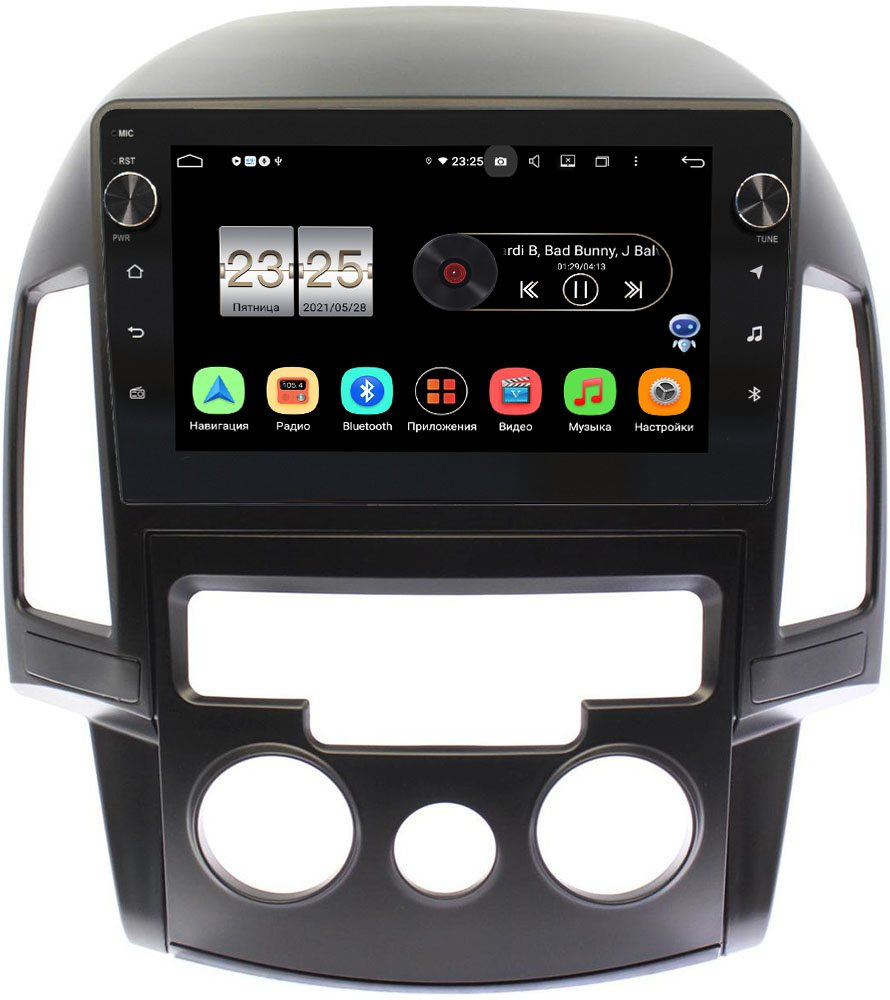 Штатная магнитола Hyundai i30 I 2007-2012 (с кондиционером) LeTrun BPX409-9201 на Android 10 (4/32, DSP, IPS, с голосовым ассистентом, с крутилками) (+ Камера заднего вида в подарок!)