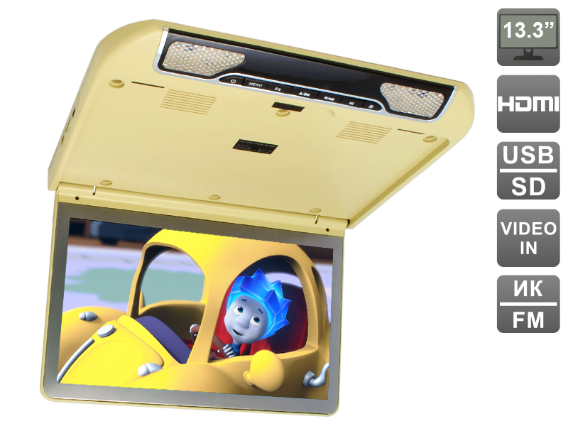 Автомобильный потолочный монитор 13.3 со встроенным FULL HD медиаплеером AVIS AVS440MPP (бежевый) crenova h80 projector full hd 1080p portable mini lcd home theater game led video proyector with av vga usb sd hdmi