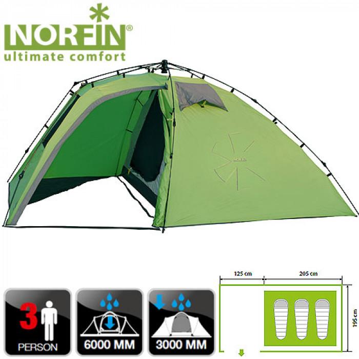Палатка автоматическая 3-х мест. Norfin PELED 3 NF палатка norfin bream 3 nf 10107