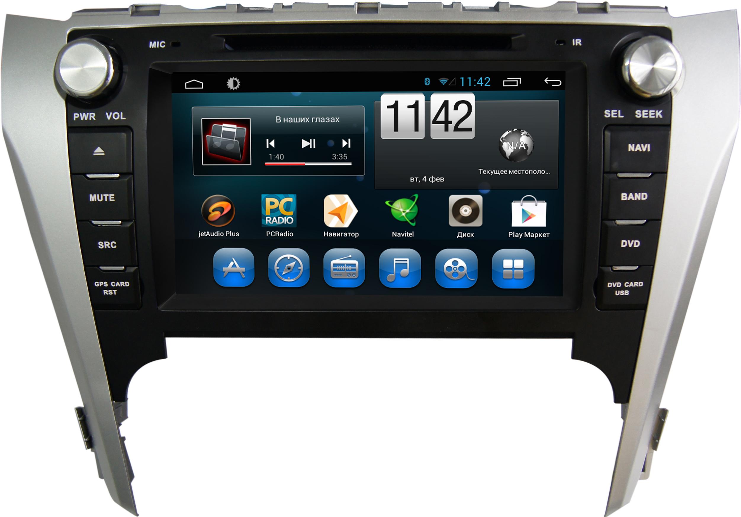 Штатная магнитола CARMEDIA QR-8010-T8 Toyota Camry 2011-2014 (V50) поддержка штатного усилителя и настроек машины на OC Android 7.1.2 / 8.1 штатная магнитола carmedia nm px004 camry 11 2011 v50 v55