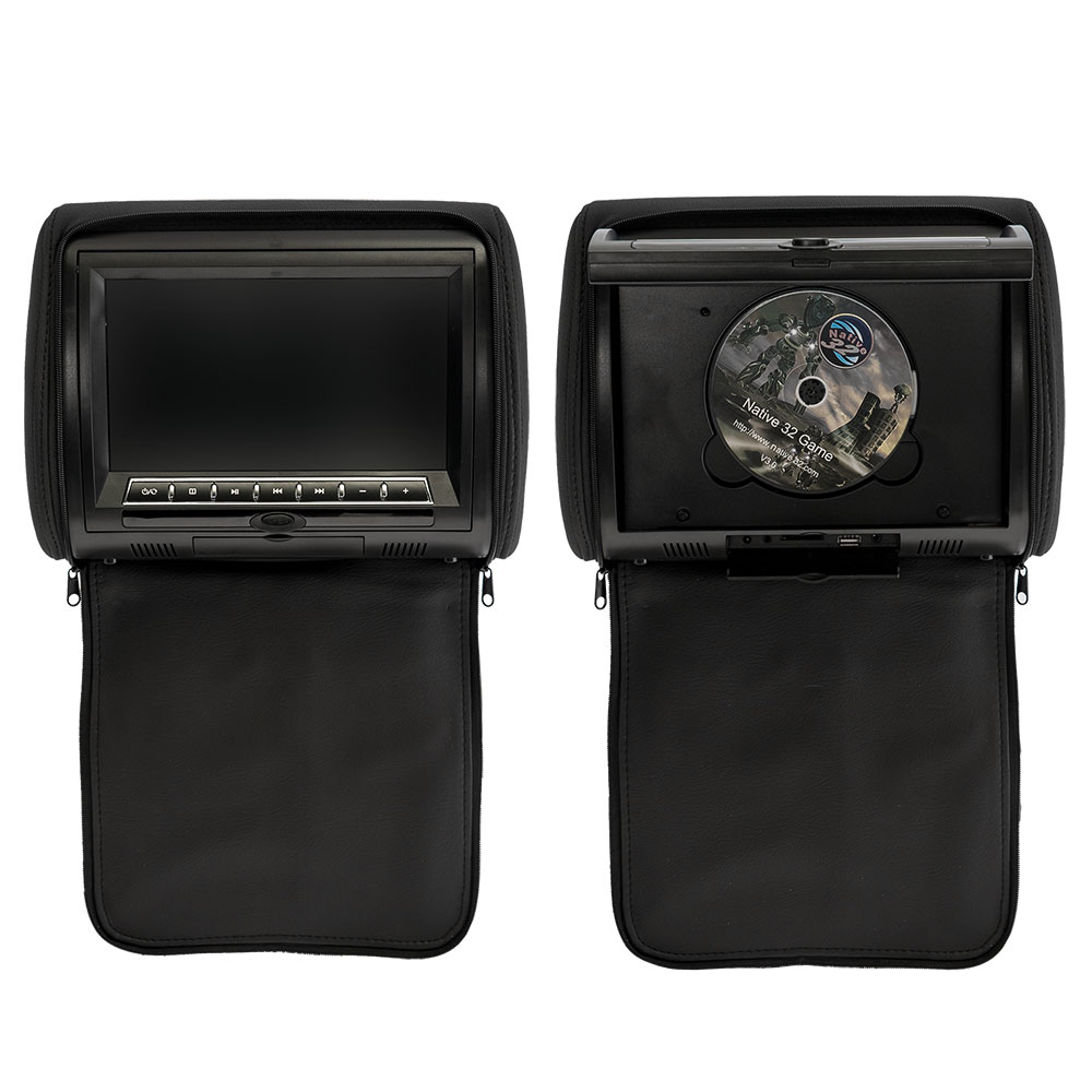 Комплект автомобильных DVD подголовников ERGO ER900HD (черный) 2x 9 inch leather cover car headrest monitor dvd video player tft lcd screen support usb sd fm game speaker wireless headphone