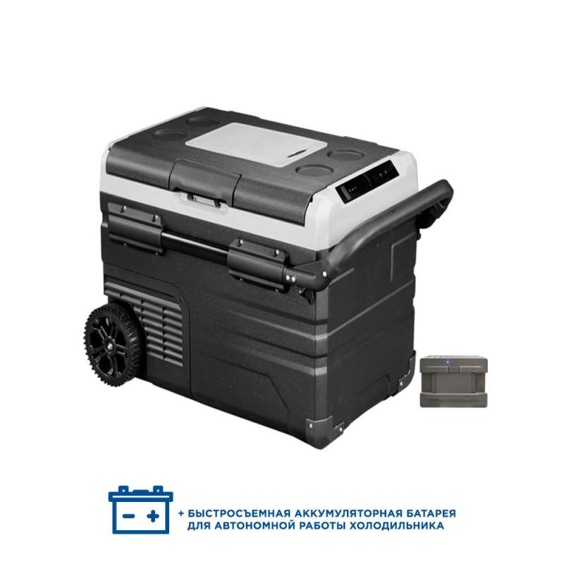 Двухкамерный компрессорный автохолодильник Alpicool ETWW55 с батареей (12/24/110/220) (+ Аккумулятор холода в подарок!).