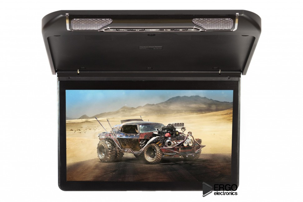 Автомобильный потолочный монитор 13.3 со встроенным Full HD медиаплеером ERGO ER13S (черный) (+ Двухканальные наушники в подарок!)