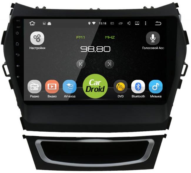 Штатная магнитола CarDroid RD-2019F-N12 для Hyundai SantaFe 3 / ix45 2012-2015 с навигацией (Android 9.0) DSP (+ Камера заднего вида в подарок!)