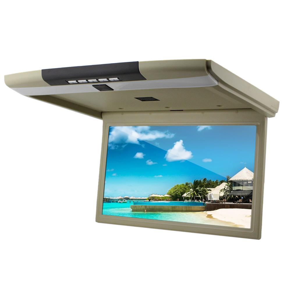 Автомобильный потолочный монитор 15.6 со встроенным Full HD медиаплеером ERGO ER15S (бежевый) (+ Двухканальные наушники в подарок!)