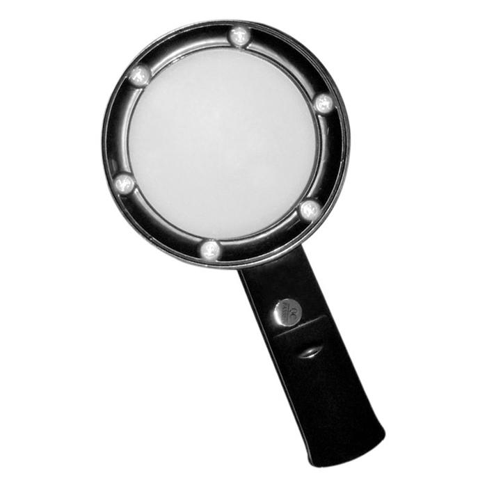 Картинка для Лупа Kromatech ручная круглая 5х, 75 мм, с подсветкой (6 LED), черная ZB666-075