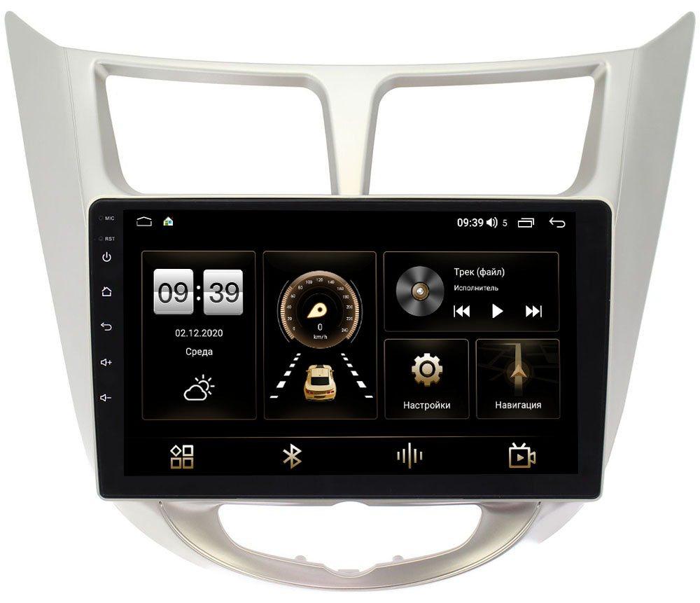 Штатная магнитола LeTrun 4196-9027 для Hyundai Solaris I 2011-2017 на Android 10 (6/128, DSP, QLed) С оптическим выходом (+ Камера заднего вида в подарок!)