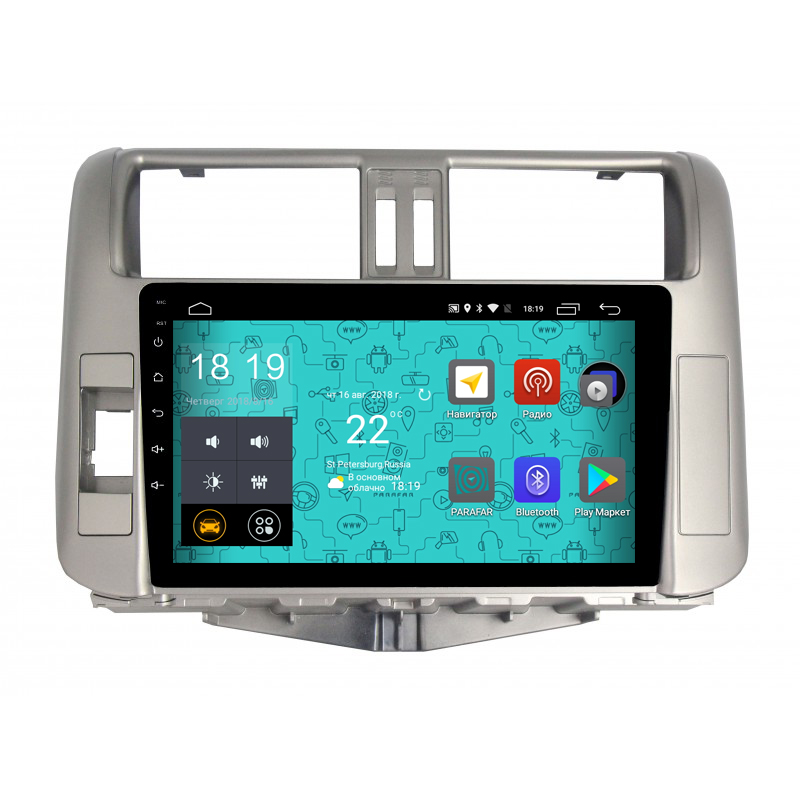 Штатная магнитола Parafar 4G/LTE с IPS матрицей для Toyota Land Cruiser Prado 150 2010-2012 на Android 7.1.1 (PF065) (+ Камера заднего вида в подарок!) штатная магнитола parafar с ips матрицей для toyota land cruiser 200 на android 8 1 0 pf567k