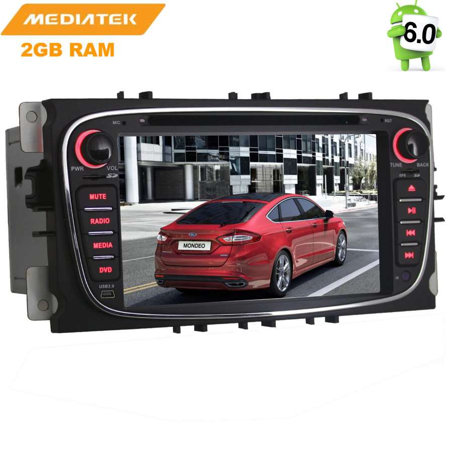 Штатная магнитола LeTrun 1413 для Ford Focus 2, Mondeo Android 6.0.1 MTK 7060b 7 inch 12v auto 2 din bluetooth tft screen car audio stereo mp3 mp4 mp5 player support aux fm usb sd mmc