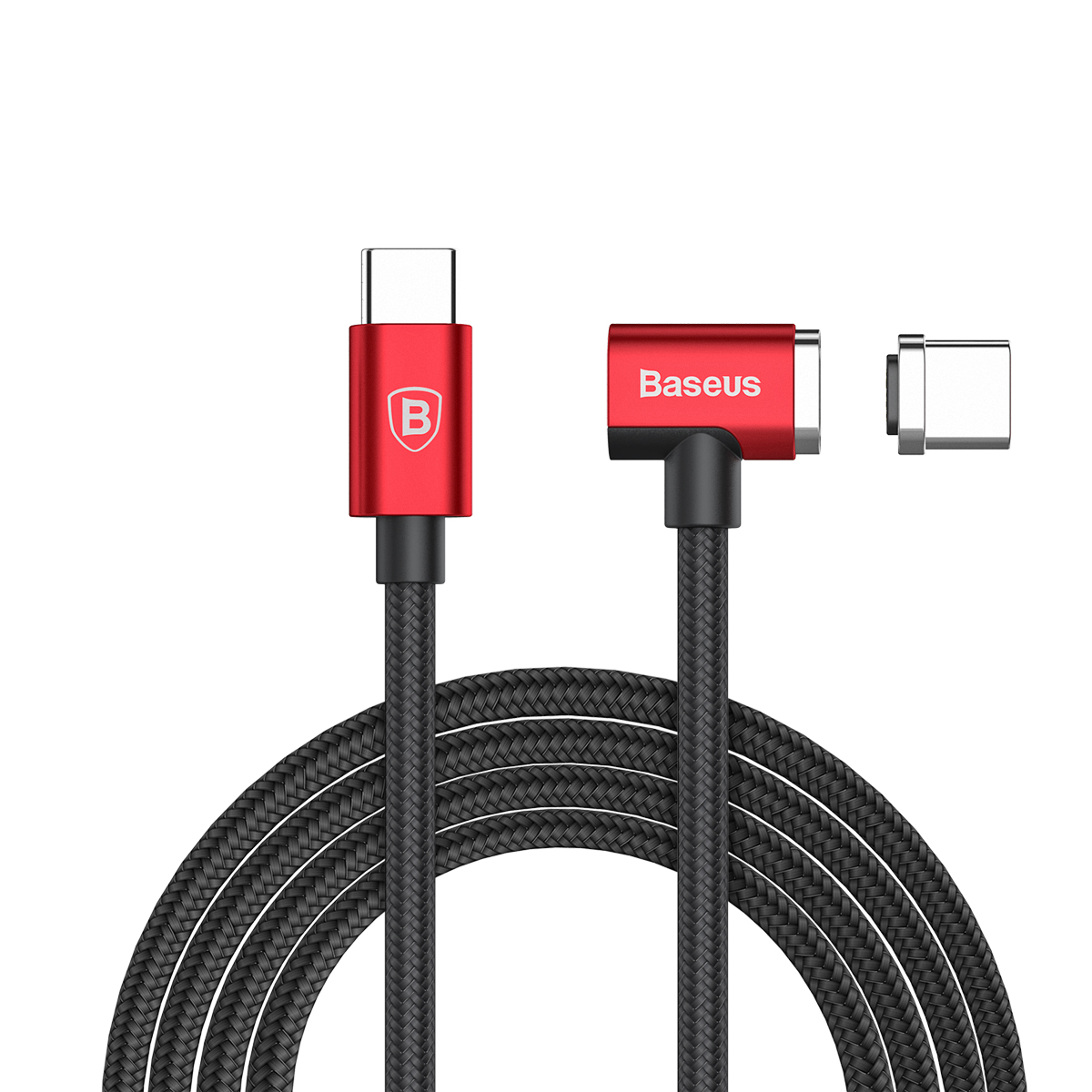 Кабель Baseus Magnet Type-C cable(Side insert) For Type-C 1.5M Red+Black aukey 0 9m 3ft usb 3 1 type c to type c cable